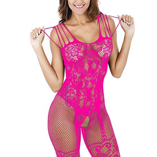 Bodysuit Dessous Lingerie Floral Lace Transparent Aushöhlen Offenen Schrittgurt Fischnetz Bodystocking Nachtwäsche Sleep für Frauen (Rose) (Sexy Lace Bodystocking Rose)