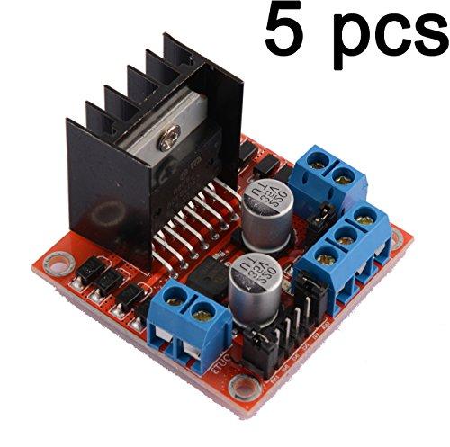 Gaoxing Tech. 5PCS Doppel-H-Brücke DC-Schrittmotor-Bewegungs-Antriebs-Steuerpult-Brett-Modul L298N für arduino (Doppel-e-motoren)