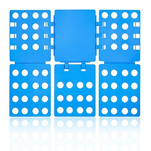 Tiantu Wäsche Faltbrett, Einstellbar Kunststoff T Shirt Falter Folder Faltbrett Falthilfe für Shirt Hemden Hosen Pullis Kleidung Laundry Ordner Zusammenleger Kleiderschrank Organizer (Blau)