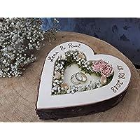Hochzeit Ringkissen Ringhalter Herz Mille Fleurs rosa Holzherz für Eheringe mit Namen