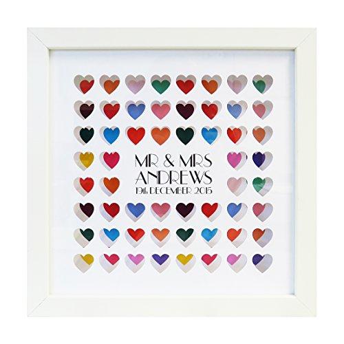 Personalizzato colorato cuori stampa con cornice anniversario di matrimonio
