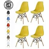 MCC Retro Design Stühle LIA im 4er Set, Eiffelturm inspirierter Style für Küche, Büro, Lounge, Konferenzzimmer etc, 6 Farben, KULT (gelb)