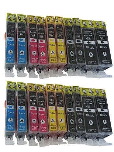 Preisvergleich Produktbild 20 Druckerpatronen MIT CHIP für Canon Pixma MG 5100 5150 5200 5250 5300 5350 6150 6250 8150 8250 für Canon MX 715 885 895 IP4850 ip4950 kompatibel mit PGI-525BK CLI-526BK CLI-526C CLI-526M CLI-526Y