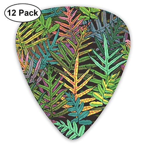 Hawaiian Laua'e Ferns On Coffee 150_3871 Classic Celluloid Picks, 12-Pack, For Electric Guitar, Acoustic Guitar, Mandolin, And Bass