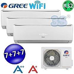 Climatizzatore inverter trial split LOMO Wi-Fi 7000 + 7000 + 7000 Btu GREE R32 classe A++/A+