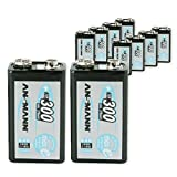 ANSMANN wiederaufladbar LSD Akku Batterie geringe Selbstentladung 9V E-Block 300mAh maxE NiMH vorgeladen sofort einsatzbereit hohe Kapazität ready to use 10er Pack