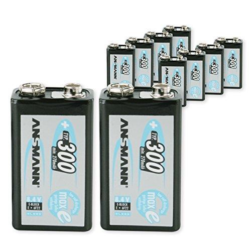 ANSMANN Pack DE 10 Piles Rechargeable NiMH maxE Batterie carrée 9V (E) Type 300 (Min. 270 mAh) Faible Décharge PP3 6F22