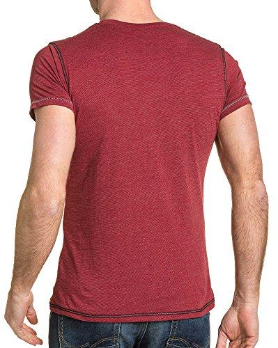 ... BLZ jeans - Bordeaux Mann T-Shirt gesteppte und Reißverschluss Fantasie  Rot