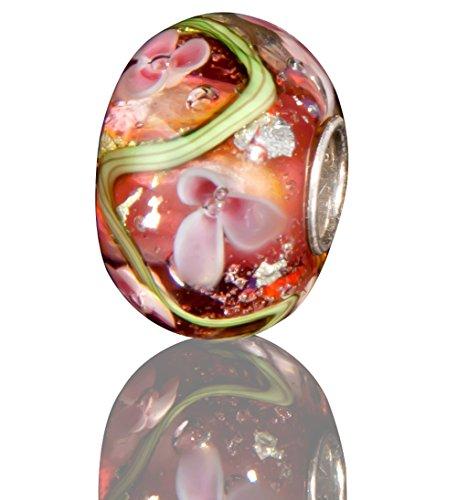 (Andante-Stones 925 Sterling Silber Glas Bead Charm SEALIFE (Purpur-Rot mit rosa-weißen Blüten) Element Kugel für European Beads + Organzasäckchen)