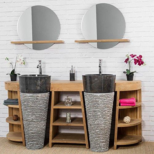wanda collection Meuble sous Vasque en Teck Florence Double 180cm + vasques Noir