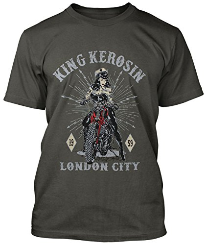 King Kerosin Herren Regular T-Shirt Biker Pin-Up - London City Rockabilly (50er Jahre Pin Girl Up)