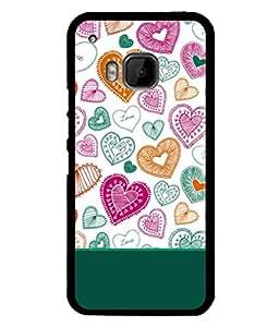 Fabcase stripes design heart shapes multicolour love Designer Back Case Cover for HTC ONE M9