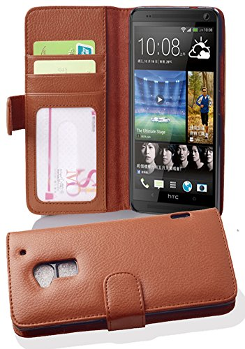 cadorabo-book-style-hulle-fur-htc-one-max-t6-case-cover-schutzhulle-etui-mit-3-kartenfachern-in-cogn