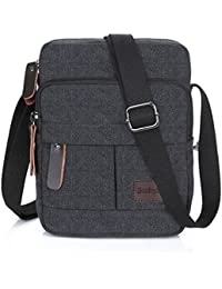 Koolertron Men's Shoulder Bag Canvas Retro Classic Sports Zipped Boy Over Shoulder Bag Small Lightweight Long Strap for Phone iPad Mini