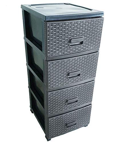 Kaiser-Handel Schubladenschrank Rollcontainer in Rattan-Optik aus Kunststoff 4 Schubladen Schrank Stecksystem (grau)