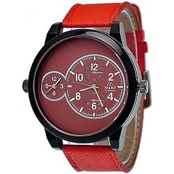 Mabz London Gents Designer Big Daddy 2 Time Zone Red PU Strap Fashion Watch