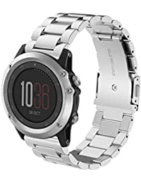 Zolimx Nueva moda banda de reloj correa de acero inoxidable para Garmin Fenix 3 (Plata)