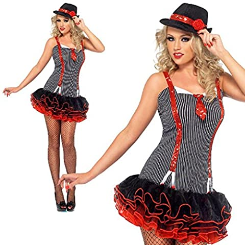 Gangster Tutu Costume Womens Ladies 1920S Sexy Mafia Moll Fancy Dress Outfit