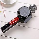 CPDZ Microfono USB Mini Microfono Senza Fili Bluetooth Luce LED Moda Karaoke Portatile di Nuovo Stile di Altoparlante Stereo per casa KTV,Nero