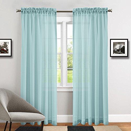 TOPICK Sheer Vorhang mit Stangendurchzug transparent Gardine 2 Stücke Gaze paarig schals Fensterschal Vorhänge 241 cm x 140 cm(H x B),2er-Set,Blau