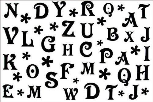 Autoadesivo moda maschile tatuaggio stagna e modelli femminili in bianco e nero 26 lettere del tatuaggio temporaneo alfabeto