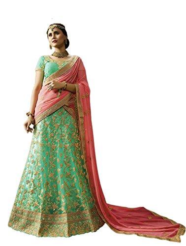 crazy bachat Indian Designer Bridal Sea Green Color Net Semi Stitched Lehenga Choli