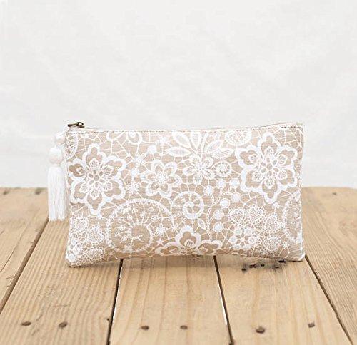 VLiving Lace Print Tasche, beige, Clutch Reißverschluss Geldbörse, Make Up oder Kosmetik Tasche, Utility Pouch, Größe 12,7x 22,9cm