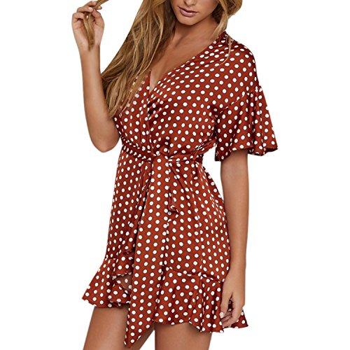 Lisli Damen Kleider Vintage Polka-Dots Muster Aufdruck Wickeloptik V-Ausschnitt Weit Kurz Ärmel Rüschen Gürtel Schleife Retro Lässig Minikleid -