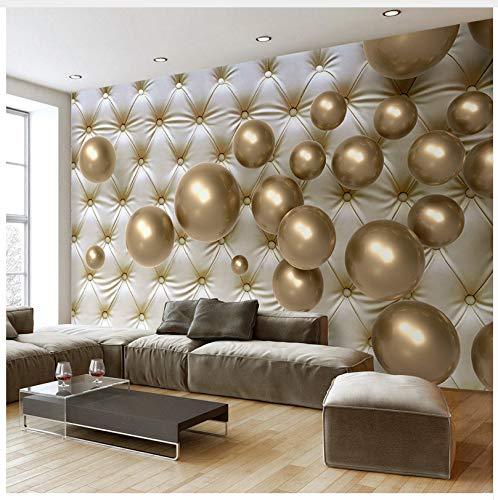3D Mural Custom Wall Mural Wallpaper European Style 3D Stereoscopic Golden Ball Soft Pack Imitation Leather Photo Wallpaper Living Room Silk Cloth 120X80cm,Ayzr 120 Roll Pack