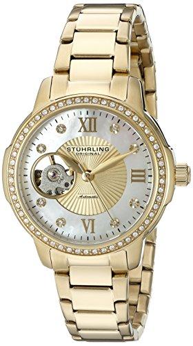 Stuhrling Original Perle 491.04 - Montre Automatique - Affichage Analogique - Bracelet Acier inoxydable Or et Cadran Nacre - Femme