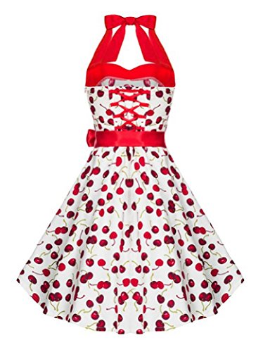IMUYI Robe Femmes Robes Vintage Halter 50s Rockabilly Wiggle Party WhiteCherry