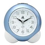 Pingenaneer Wecker Stille Glockenwecker Analog Quarzwecker Klassisch Tischuhren mit Nachtlicht, Lauter Alarm, Ohne Ticken, Schlummerfunktion, Batteriebetrieben (Blau)