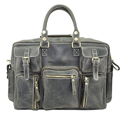 LAIDAYE Retro Männer 16-Zoll-Portable Aktenkoffer Computer Tasche Gepäck Tasche Grau Tasche Grey