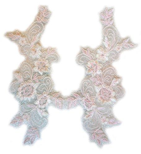 calais rebrodée Spitze, elfenbeinfarben/rosa für die Einrichtung und das Kleid Abendkleid. -