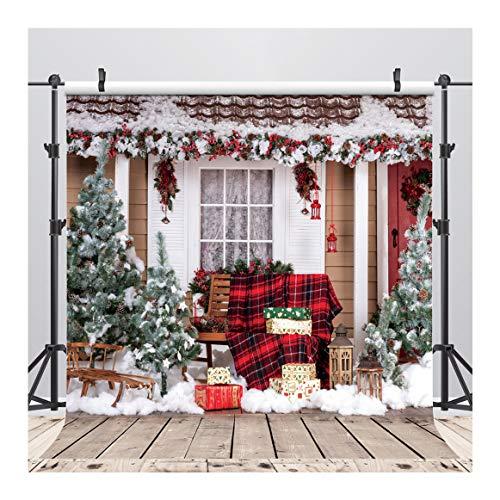 AIIKES 10x10FT/3Mx3M Weihnachtsschmuck für Home Photography Hintergrund Weihnachten Schneeflocken Hintergrund Foto Holz Hintergrund Neugeborene Weihnachtsbaum Geschenke Hintergrund 10-280