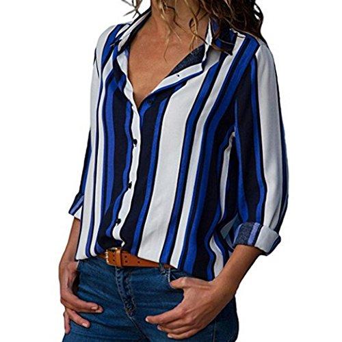 Sannysis Frauen Casual Cuffed Langarm V-Ausschnitt Button up Gestreiftes Hemd Bluse Tops