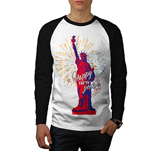 Freiheit Statue Neu Jahr Neu York Herren S Baseball lange Ärmel T-Shirt | Wellcoda