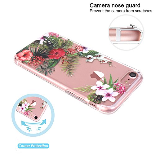 JIAXIUFEN TPU Gel Silicone Protettivo Skin Custodia Protettiva Shell Case Cover Per Apple iPhone 7 (2016) / iPhone 8 (2017) - Fiore Floreale Design Rose Flower Flower Bloom