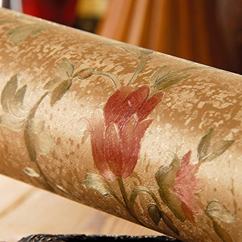 Sfondi fiori giardino d'oro continentale camera da letto soggiorno progetto oro abbigliamento American vintage store PVC carta da parati metri di lunghezza e largo 9,5 metri e 0,53 m,8170106 tulip