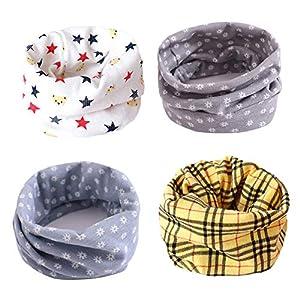 ANSUG 4 paquetes de calentador de cuello de algodón para niños, Ring Infinity Loop Pañuelo para el cuello Snood Bufanda… 4