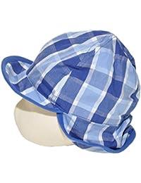 JACKY Baby Mütze Sommerhut mit Schirm und Nackenschutz Blau kariert Gr 50/56-74/80-86