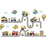 Dessin animé voiture construction camion route enfants chambre à coucher chambre maternelle classe stickers muraux , picture color , extra large