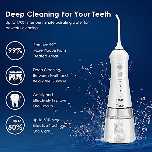 Munddusche Elektrisch Kabellos Foshine IPX7 Wasser Flosser Oral Irrigator Mundspülgerät Zahnreinigung 300ML Wassertank mit 2 Ersatzdüsen 1 Orthodontic-Düse,3 Modi,für zu