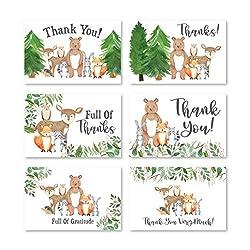 Woodland Dankeskarten mit Umschlägen, für Kinder oder Babyparty, rustikales Tier, Hirsch oder Fuchs, 4 x 6 verschiedene Danksagungskarten für Party, Geburtstag, Junge oder Mädchen, für Ruhestand