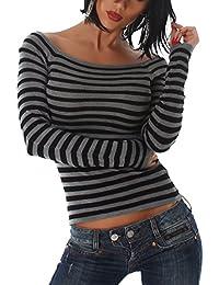 Eleganter Damen Pullover, Pulli im Carmen Style, schulterfrei gestreift in Einheitsgröße 32-36
