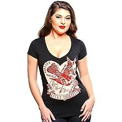 Lucky 13 - Camiseta - para Mujer Negro Medium