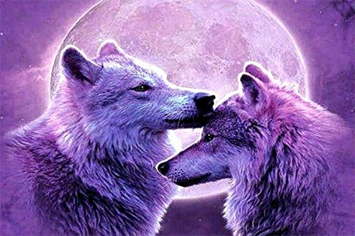 5D DIY Diamond Painting by Numbers Kits, Crystal Embroidery Cross Stitch Rhinestone Mosaic Drawing Art Craft Home Wall Decor, Wolf 11.8*15.7 Inch