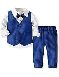 0fd8241ff2657f Weentop Camicia Casual a Maniche Lunghe in Poliestere abbottonata per  Bambini, Modello Slim Fit +