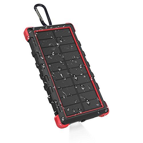OUTXE Typ-C Wasserdicht Solar Powerbank 10000mAh Outdoor Akkupack mit Taschenlampe