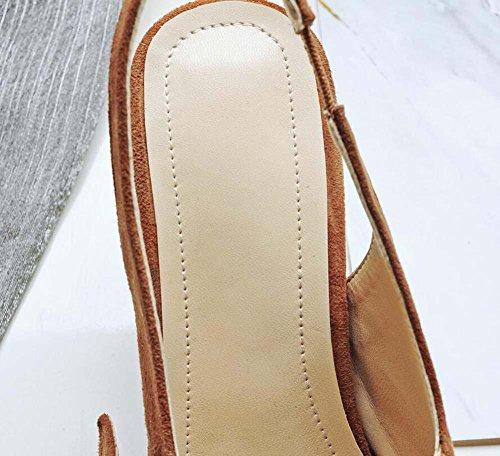 Onfly Femmes Pointe Toe perle Frotter la peau de mouton Des sandales Talon moyen Pompes Mary Janes Slingbacks Chaussures Brown